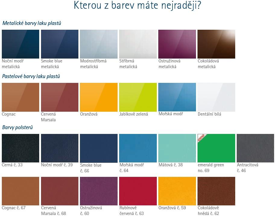 Vzorník barev stomatologické soupravy kavo estetica e50