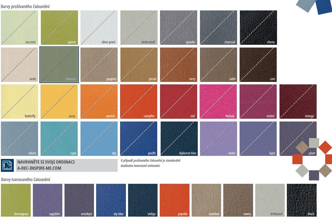 Vzorník barev stomatologických souprav A-dec 500