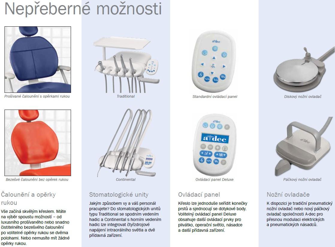 Možnosti Konfigurace stomatologické soupravy A-dec 300