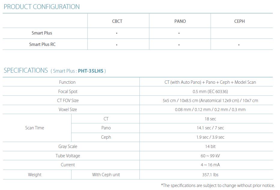 Dentální CBCT Vatech Pax-i3D Smart Plus specifikace