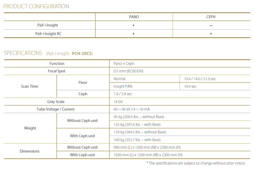 Panoramatický rentgen Vatech Pax-i Insight - specifikace