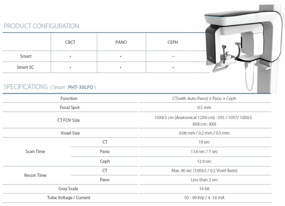 Dentální CBCT Vatech Pax-i3D Smart specifikace