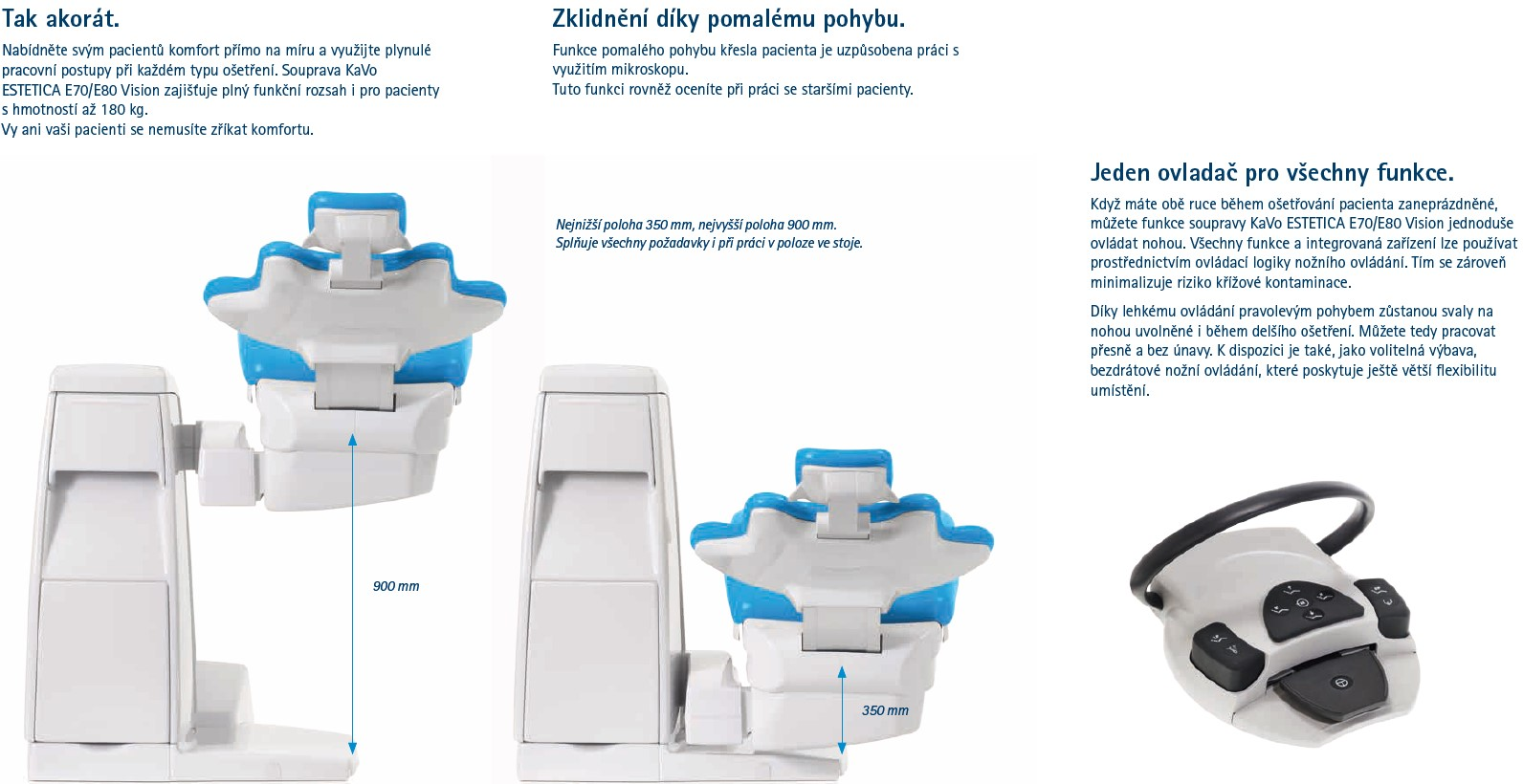 Stomatologická souprava KaVo Estetica E70/E80 Vision výhody